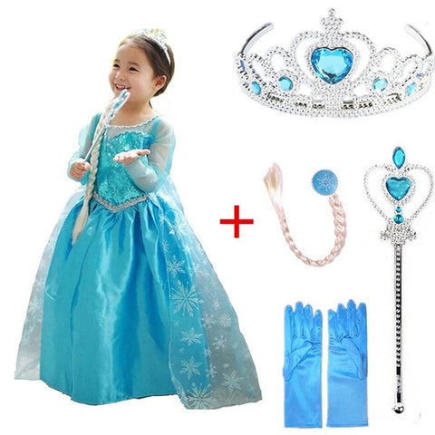 Image of Girls elsa dress new snow queen costumes for kids cosplay dresses princess disfraz carnaval vestido de festa infantil congelados