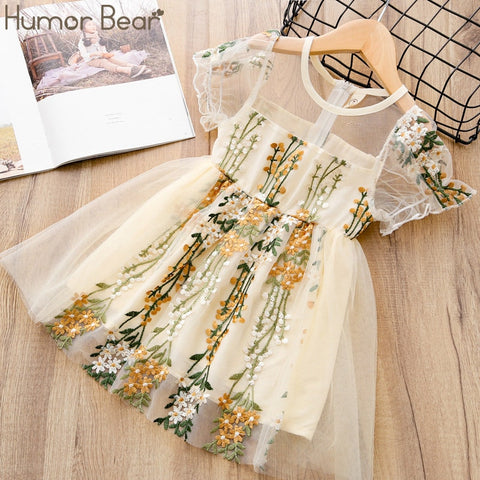 Image of Humor Bear Summer Flower Girls Dresses Wedding Girls 6 Years Embroidery Lace Gown Princess Dress Tulle Kids Elegant Dress