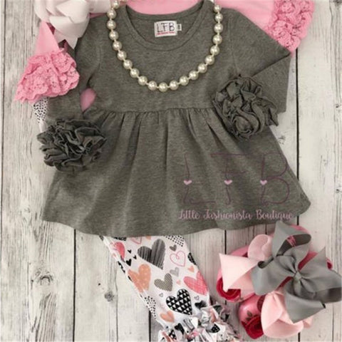 Image of 2Pcs Newborn Toddler Baby Kids Cute Girls Tops Pants Valentine Day Outfits Sets Hot New Baby Girl Clothes Lace Top Heart Pants