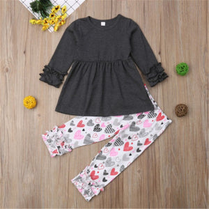 2Pcs Newborn Toddler Baby Kids Cute Girls Tops Pants Valentine Day Outfits Sets Hot New Baby Girl Clothes Lace Top Heart Pants