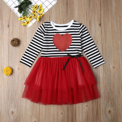 Image of Toddler Kids Baby Girl Clothes Valentine Day Love Party Pageant Tulle Dress Clothes