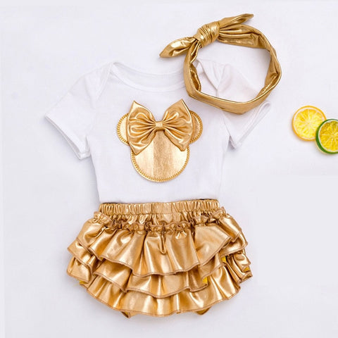 Image of 3Pcs Newborn Baby Girls Outfits Fashion Print Romper + Headband Suits Sweet Infant Kids Cartoon Minnie Clothes Set Outwear 0-24M