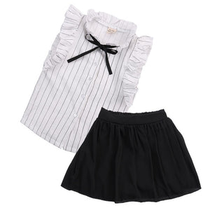 2PCS Set Girls Dress Kids Baby girl striped sleeveless Tops+ solid Skirt  Outfits Clothes set