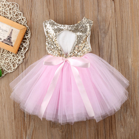 Image of Princess Kids Baby Dress For Girls Fancy Wedding Dress Sleeveless Sequins Party Birthday Baptism Dress For Girl Summer Dresses