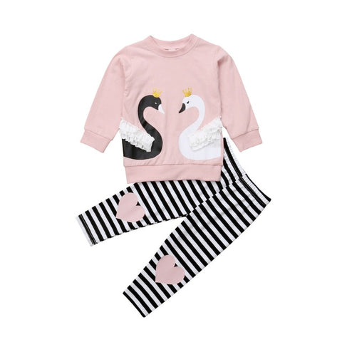 Image of Toddler Newborn Kids Baby Girl Clothes Swan Tops T-shirt Sweatshirt Pants Winter Outfits 2psc Clothes Set