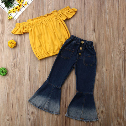 Image of Fashion Toddler Kids Baby Girls Summer Clothes Party Sets Off Shoulder Tops T-Shirt Flared Pants 2Pcs Girl Clothing Outfits 3-7Y