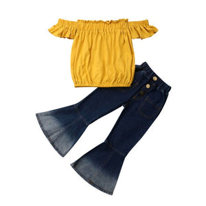 Fashion Toddler Kids Baby Girls Summer Clothes Party Sets Off Shoulder Tops T-Shirt Flared Pants 2Pcs Girl Clothing Outfits 3-7Y