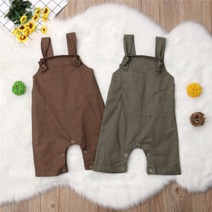 Newborn Baby Boys Girls Solid Dungarees Bib Pants Infant Romper Jumpsuit Overalls Outfits 2019 Toddler New Fashion Baby Clothes