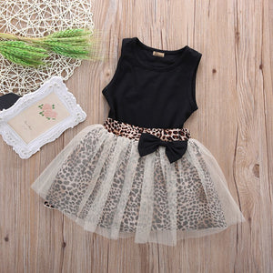 New Hot Kids Baby Girl dress Sleeveless Round Collar Top Leopard Print Mesh Dress 2Pcs Suit Outfit Dresses