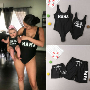Mommy and me Father and son Matching swimsuits with print