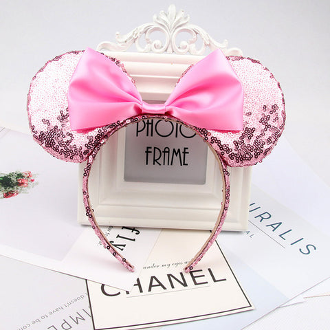 Image of CN Hair Accessories Minnie Mouse Ear Headband Hair Band For Women Sequin Bow Girls Headbands Birthday Party Hairband