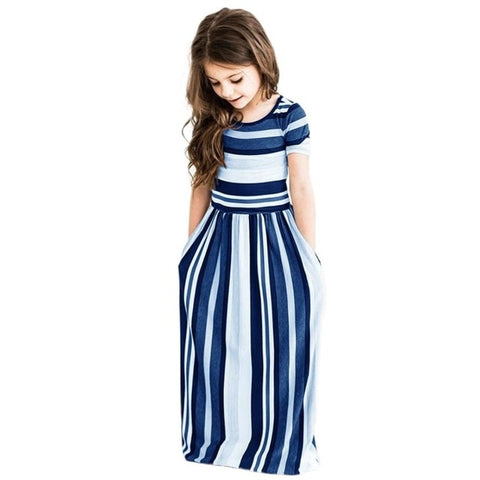 Image of Girls Long Dress Casual Beach Party Bohemia Maxi Dress with Pocket Casual Sundress Outfits Beachwear For Children