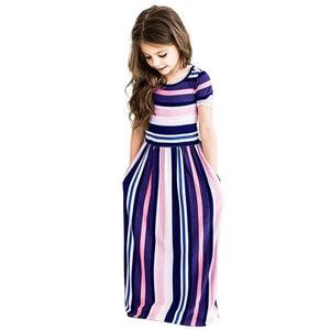 Girls Long Dress Casual Beach Party Bohemia Maxi Dress with Pocket Casual Sundress Outfits Beachwear For Children