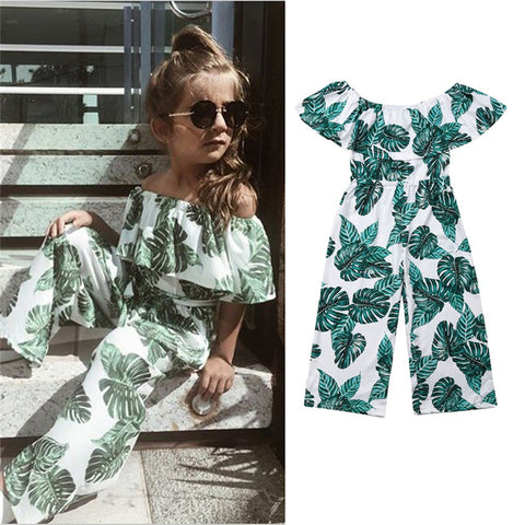 Image of 2019 Toddler  Baby Girl Princess Fashion Green leaf printing Clothes Summer Outfits Children clothing set roupas menina