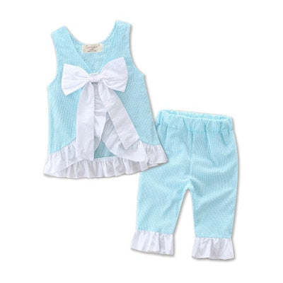Image of Easter Wholesale Baby Girls Boutique Pink blue yellow purple aqua Seersucker Fabric Outfits for Girls Summer swing top pant set
