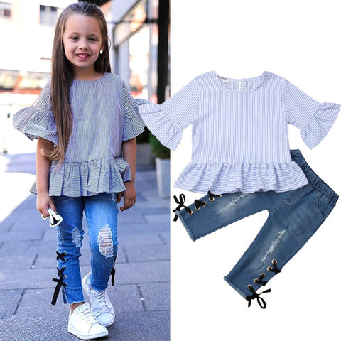 Image of Toddler Kids Baby Girls Ruffle Stripe Tops T-shirt Long Denim Pants Jeans Outfits Set 2019 New Fashion Children Clothes 1-6Y