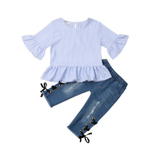Toddler Kids Baby Girls Ruffle Stripe Tops T-shirt Long Denim Pants Jeans Outfits Set 2019 New Fashion Children Clothes 1-6Y