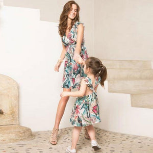 flower matching mother daughter dresses family look mommy and me clothes ruffled V neck mom mum baby girls dress family outfits