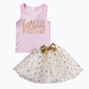 Kid Baby Girl Birthday Outfit Top T-shirt Party Skirt Princess Dress Set Clothes Hot Dress For Girls Waistcoat Mini Dot Dress