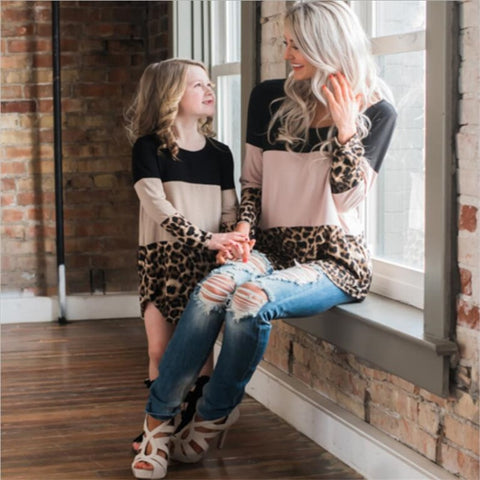 Image of LILIGIRL Mother Daughter Dresses 2019 Spring New Mommy and Me Dress for Family Matching Clothes Leopard Lace Mom Girl Dress