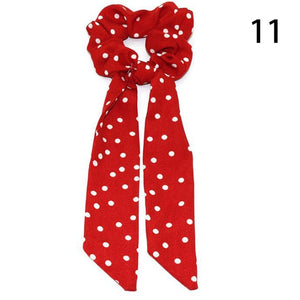Bohemian Polka Dot Floral Printed Ribbon Bow Hair Scrunchies Women Elastic Hair Band Scarf Hair Rope Ties Girls Hair Accessories