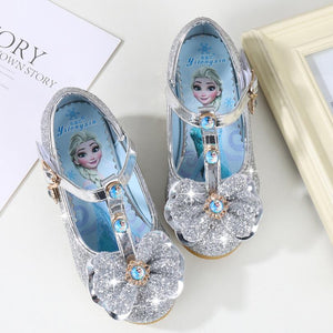 Girls Wedding Shoes Glitter New Brand High Heels Children Elsa Princess Sandals Dance Kids Fashion Party Shoes with Bow