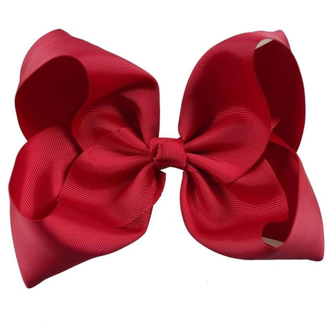 "Image of 8"" Handmade Solid Large Hair Bow For Girls Kids Grosgrain Ribbon Bow With Clips Boutique Big Hair Accessories"
