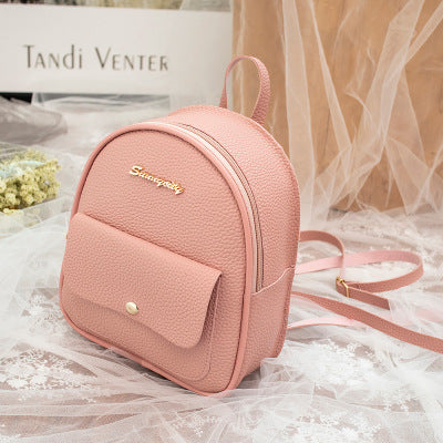 Image of 2019 Korean Style Women Mini Backpack PU Leather Shoulder Bag For Teenage Girls Multi-Function Small Bagpack Female Phone Pouch