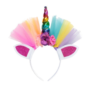 Girls Unicorn Cosplay Hairband Kids Dress UP Wigs Princess Fancy Outfits Accessories Baby Girl Rainbow Braid Synthetic Hair