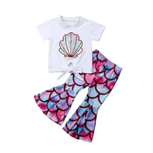 2019 Summer Kids Baby Girl Mermaid Clothes Short Sleeve T-shirt Tops Flared Pant Bell Bottom 2PCS Outfits Girls Clothing Set
