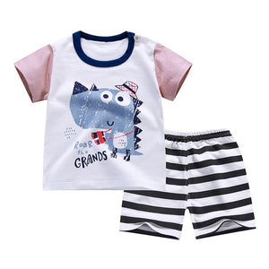 Summer T-Shirt+Short Pants 2019 Baby Boys Girls Cotton Clothing Sets Clothes set Outfits Bebes Suits 6M to 7 Years Old 2 PCS Set