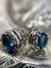 Load image into Gallery viewer, Blue Topaz and Diamond Studs