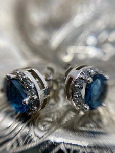 Blue Topaz and Diamond Studs