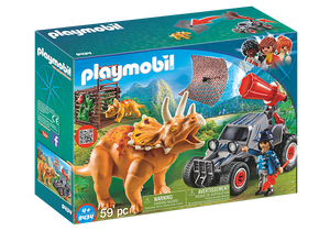 Playmobil Dinos 9434 Enemy Quad with Triceratops