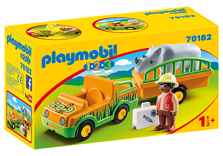 Playmobil 1.2.3 70182 Zoo Vehicle with Rhinoceros