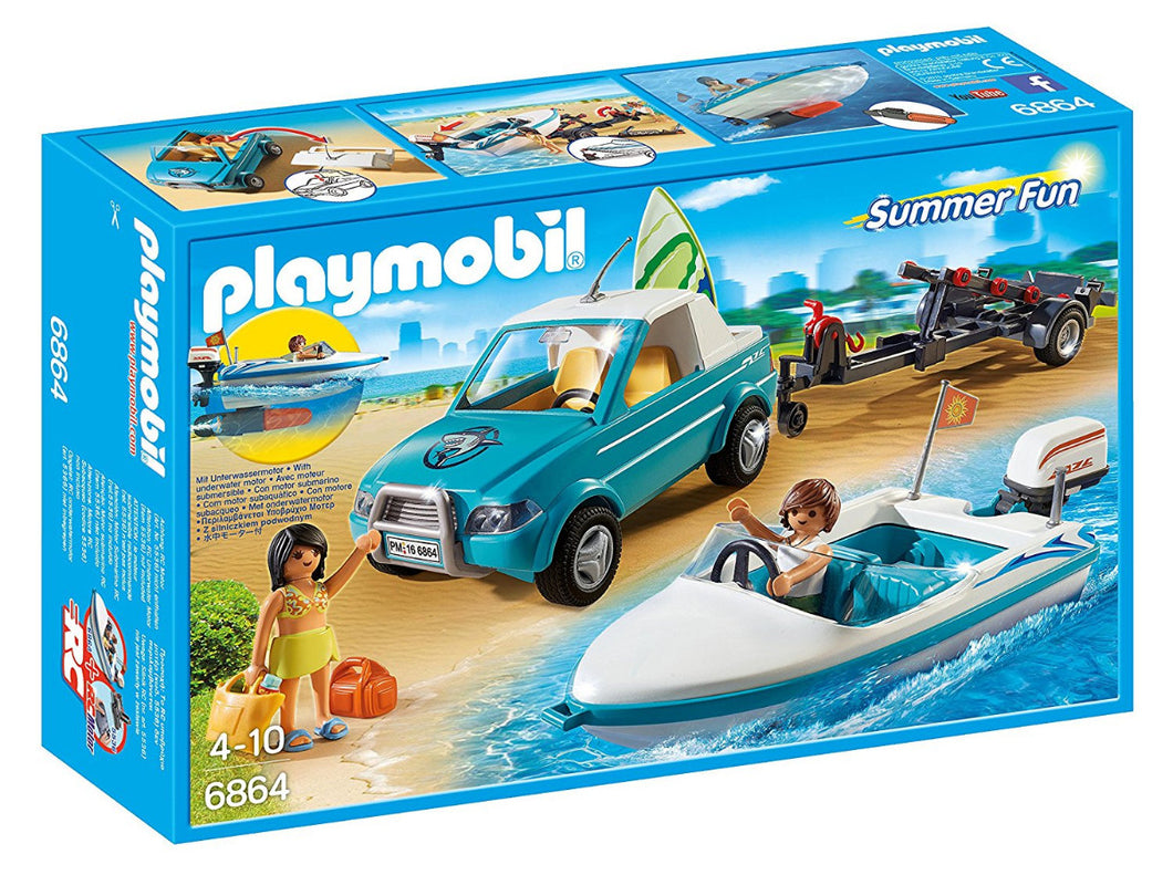 Playmobil Summer Fun 6864 Surfer Pickup with Speedboat with Motor