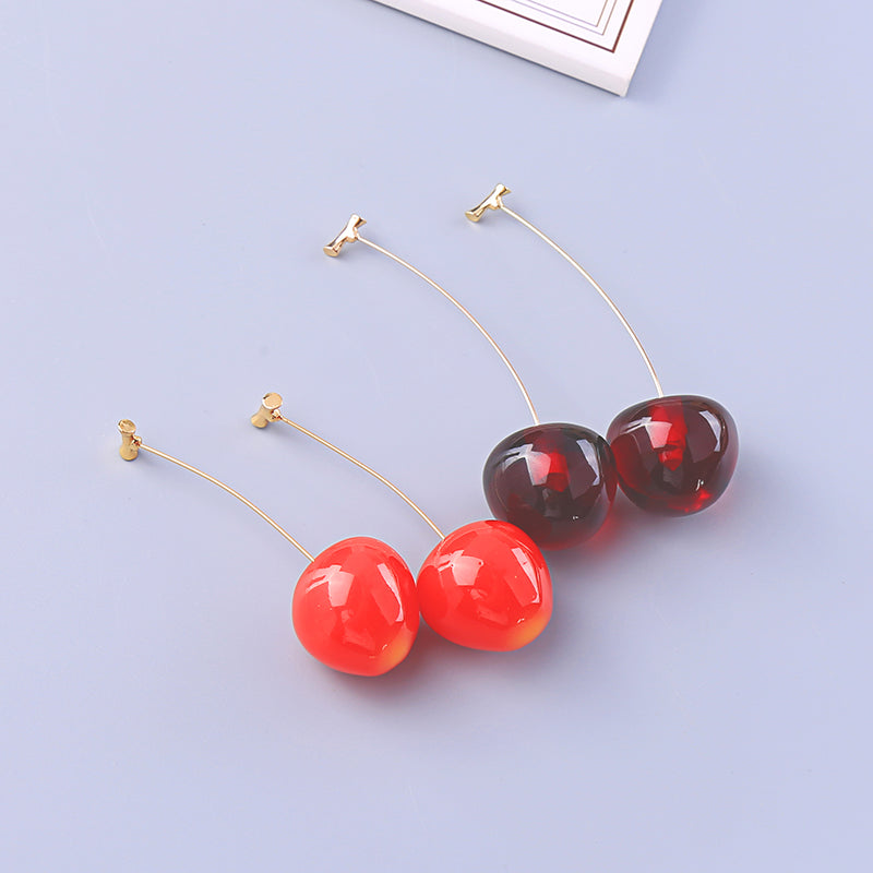 kissme Cute Red&Dark Red Acrylic Vivid Cherry Drop Earrings For Women Gifts Gold Color Brass New Fashion Jewelry Dropshipping