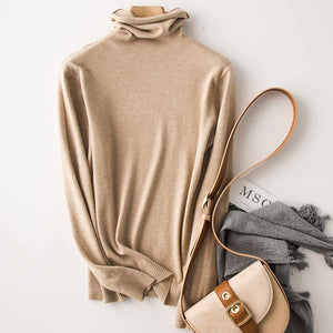 2019 new high collar ladies cashmere sweater bottoming shirt pullover sweater long sleeve autumn and winter ladies sweater