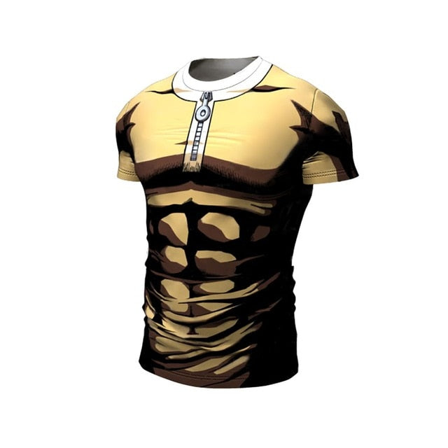 One Punch Man Running tshirts men Compression Tight shirts Gym sport training shirts bodybuilding Long sleeves clothing male