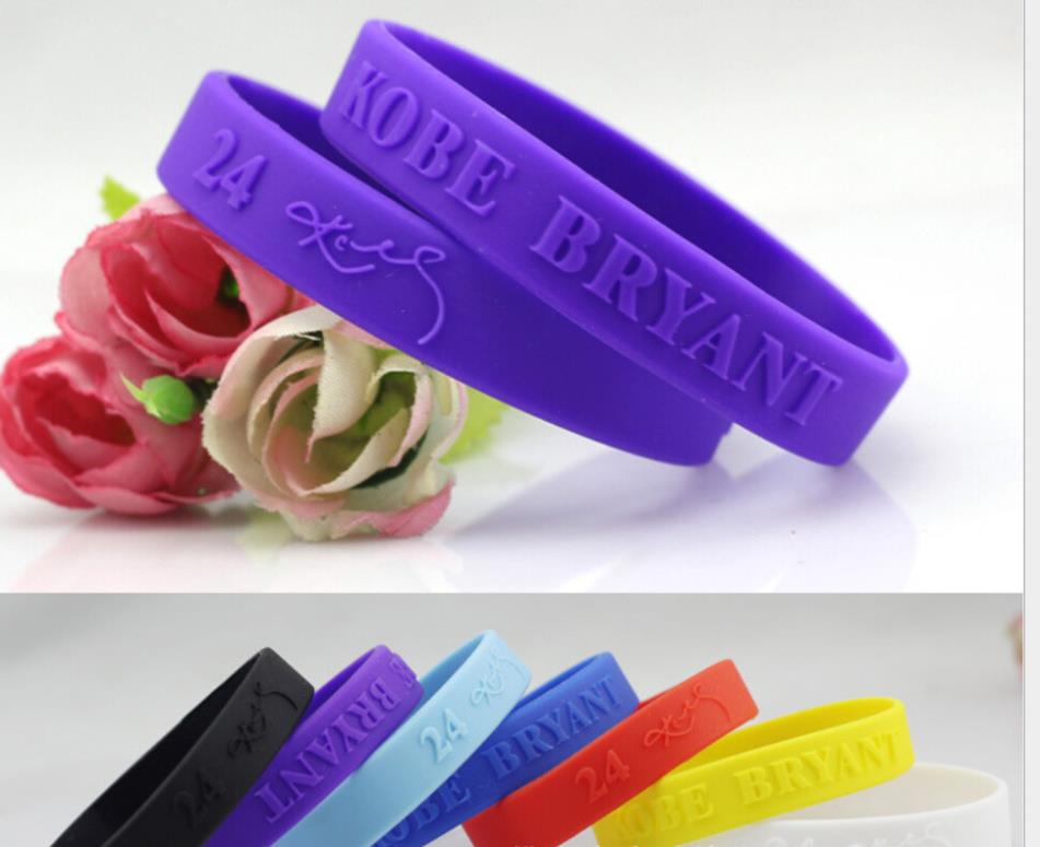 OMH wholesale wristbands black bule sport basketball silica gel hand circle the lakers KOBE signature hand circle bracelet SZ39