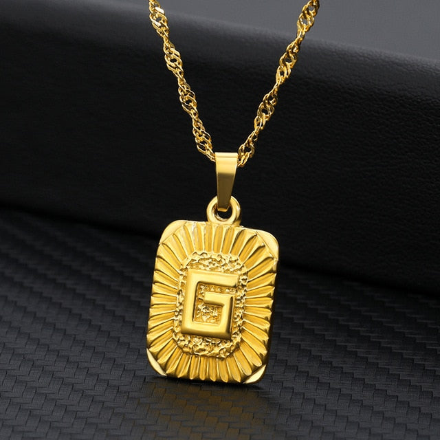 Initial Letter Pendant Necklace A B C Charm Gold Capital Stainless Steel Letter Square Necklace For Women Alphabet Choker Jewely