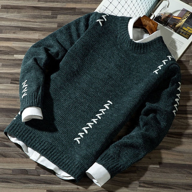 2020 Men's Casual Autumn Fashion Casual Strip Color Block Knitwear Jumper Pullover Sweater sale Material Cotton Mens Sweaters