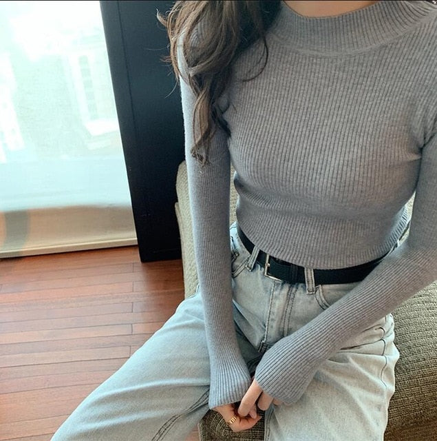 2019 Autumn Winter Women Knitted Turtleneck Sweater Casual Soft Polo-neck Jumper Fashion Slim Femme Elasticity Pullovers