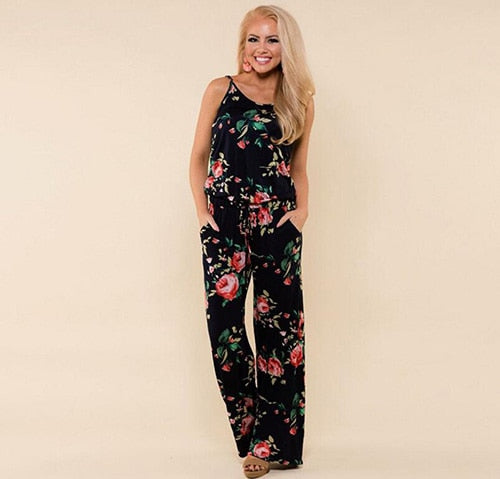 Summer Jumpsuit Women 2019 Fashion Sleeveless Strap Sexy Overalls Rompers Female Boho Style Floral Print Jumpsuits Plus Size