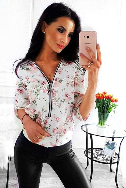 Women Tops Blouses 2019 Autumn Elegant Long Sleeve Print V-Neck Blouse Female Work Zipper Shirts Plus Size Tops 5XL Mujer Blusa
