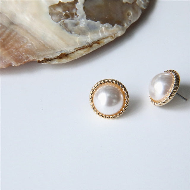 MENGJIQIAO 2019 Japan New Vintage Round Marble Opal Stone Big Stud Earrings For Women Fashion Temperament Simulated Pearl Brinco