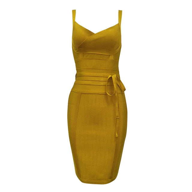 2020 Newest Fashion Bandage Dress Women Spaghetti Strap V-Neck Belt Sexy Night Club Evening Party Bodycon Dress Women Vestidos