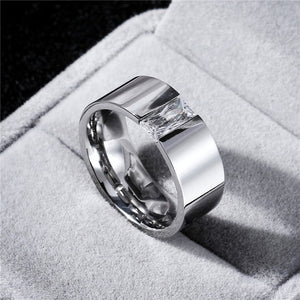 Light Mirror Polish 8MM CZ Zircon Titanium Ring for Men and Women Silver Personalized Ring Customize Ring Engraved Ring