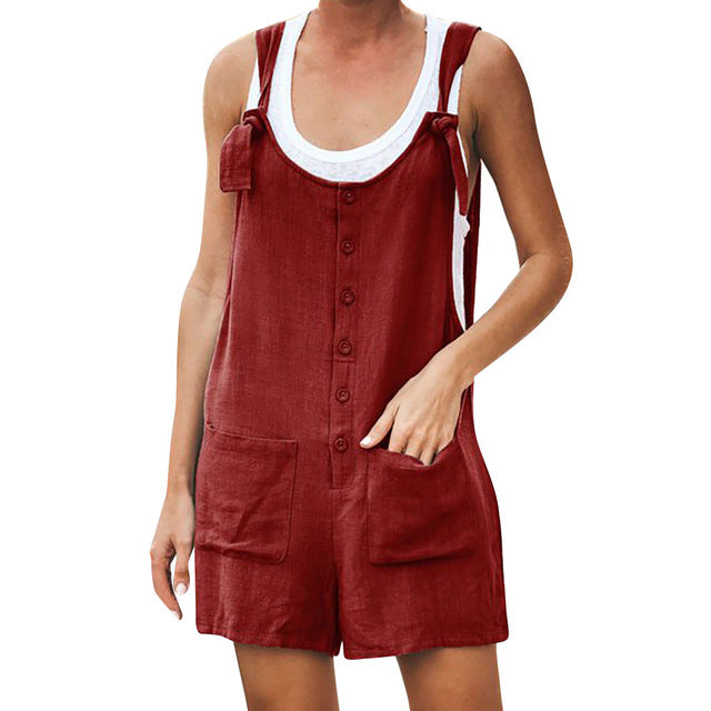 Women's Casual Button Pocket Jumsuit Female Ladies Summer Linen Vintage Shift Spaghetti-Strap Rompers Playsuits 2019