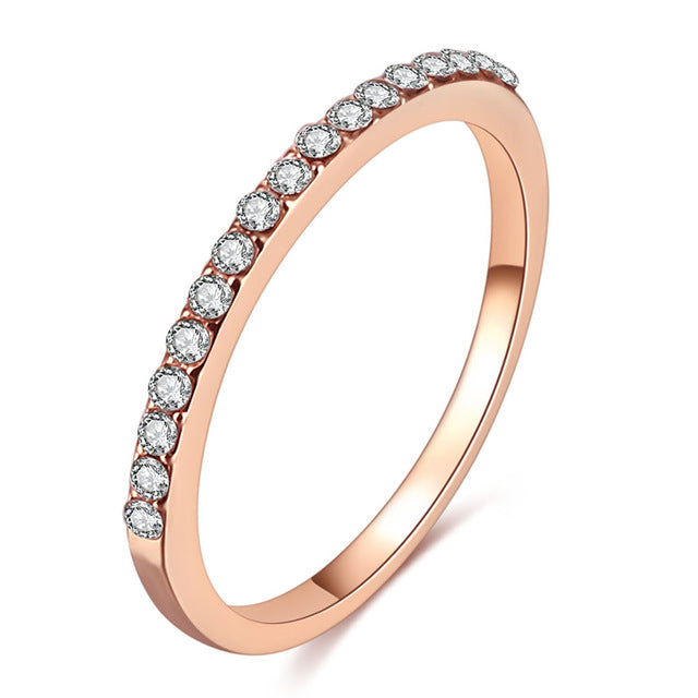 FAMSHIN Fashion Wedding Ring For Women Classic Luxury Mini Crystal Zircon Rings Rose Gold Silver Color Engagement Rings Jewelry